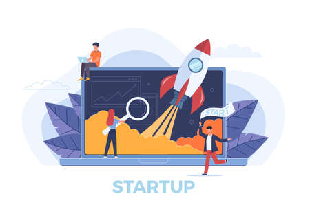 Startup. Rocket launch metaphor, people presentation new business project start up on laptop,  creative idea and innovation new original symbol vector concept. Vettoriali