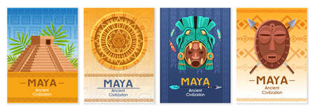 Maya ancient culture. Aztec and Inca civilization elements, mexico architecture fragments. Religion masks and idols, pyramid and Mayan calendar cartoon vector colorful poster set. Vettoriali