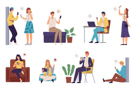 People surfing internet. Men and women spending time online using devices laptop, smartphones and tablets, addicted to gadgets. Characters texting, making selfie, chatting vector cartoon isolated set. Vettoriali