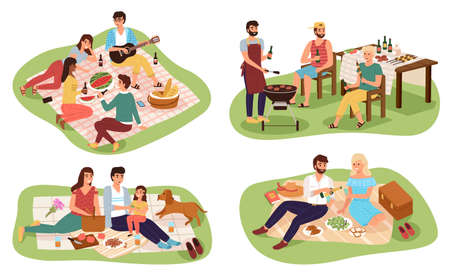 Picnic people. Happy groups young women and men have lunch on nature together, friends sitting in summer park, family outdoor eat and drink, couple romantic date colorful cartoon vector set.