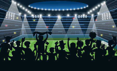 Sport fans at stadium. People black silhouettes on stadium background, soccer football match on spotlight, team supporters stand and hand flag and posters on arena cartoon vector championship concept