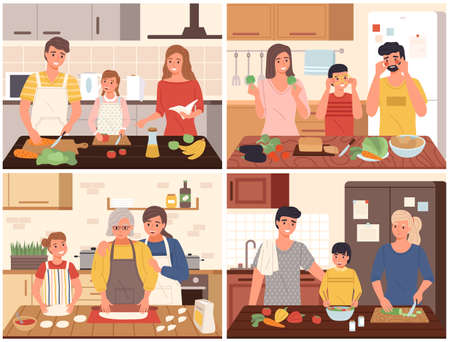 Family cooking. Happy parents and children cook food on kitchen interior collection, dinner preparation, mother, father and child cut vegetables. Every day or holiday festive meal vector cartoon set. Vettoriali