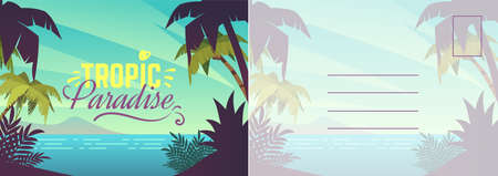 Travel postcard. Card with summer landscape, seaside, blue ocean and exotic palms. Tropical paradise and outdoor recreation letter template, vector invitation and greeting bright cartoon illustration. Vettoriali