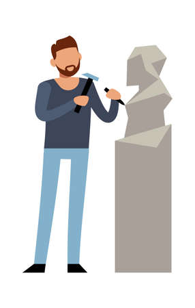 Sculptor at work. Modern cartoon male character make sculpture out of marble stone, talent artist with artwork statue and tools, creative profession and hobby vector flat cartoon isolated illustration