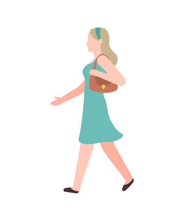 Walking flat woman. Modern young happy cartoon female character in summer casual clothes with little bag walks in park, woman leisure time activities urban life vector cartoon isolated person outdoors