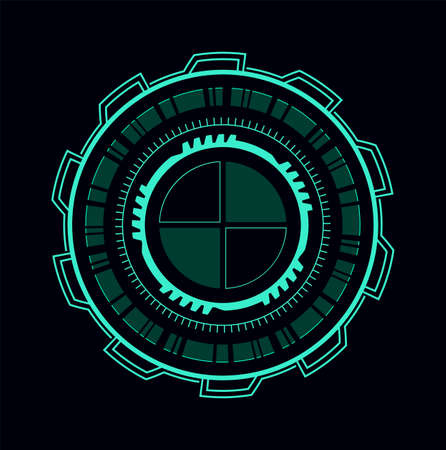 Futuristic green user interface. Virtual luminescent circle frame, abstract visualization dashboard, shining vr menu panel. vector isolated on black background illustration.