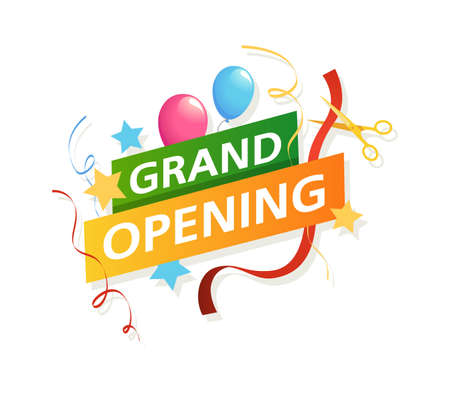 Grand opening banner. Vector promo flyer with scissors, big official opening ceremony new beginning and startup sticker with text. realistic colorful vector isolated illustration. Vettoriali