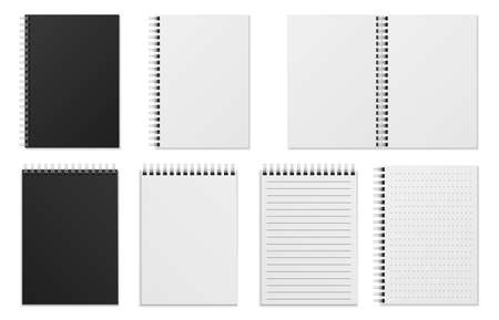 Open and closed notebook. Blank realistic spiral binder notepad or sketchbook. White sheets, checkered and ruled pages,  mockup vector isolated illustration.