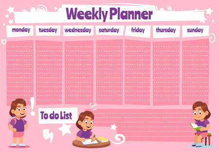 Weekly planner for kid. School calendar template, kids schedule and to do list for homework and notes, children time management vector pink notepaper. Vettoriali