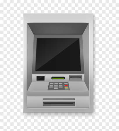 Atm terminal. Realistic payment machine front view, automated teller for finance service,  3d vector isolated illustration.