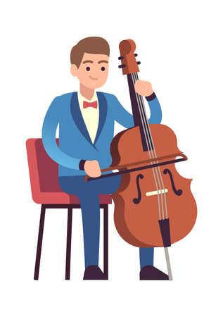 Cellist performance. Classic male musician character in blue dress with cello plays melody, acoustic music show entertainment concept flat vector cartoon isolated illustration.