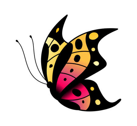 Colorful stylized butterfly. Flying bright insect silhouette in black, pink and yellow colors, simple single flat cartoon vector isolated illustration Vettoriali