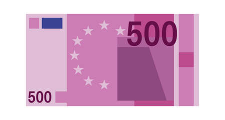 Five hundred euro banknote. Purple paper 500 euro money, europe cash simple design, bank financial bill vector flat isolated on white background close up illustration Vettoriali