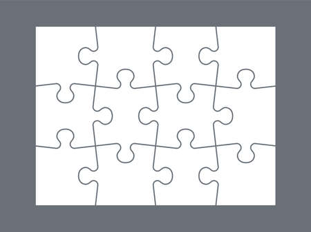 Parts of puzzle. White jigsaw infigraphic template, blank matching parts. Empty mockup for kids mosaic toy. Intellectual developing game for children. Vector layout for dividing picture into squares