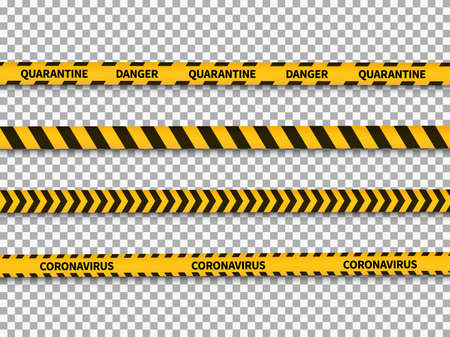 Quarantine yellow and black stripes. Coronavirus stop danger tape, warning ribbons, attention covid-19 pandemic virus notification barrier, forbidden cross area vector on transparent background set Vettoriali