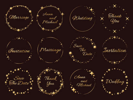 Stardust golden frames. Wedding invitations inscriptions, stars and sparks around, luxury event decor, elegance template collection. Round glitter shiny effect particles with copy space vector set