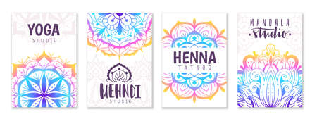 Mandala yoga ornament. Oriental patterns cards with decorative indian color fractals, meditation decoration circles. Mehndi tattoo, yoga or beauty fashion spa backgrounds collection vector posters set