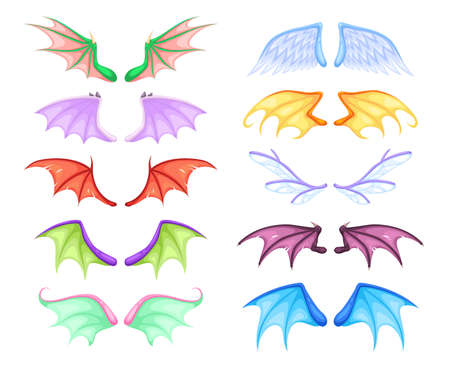 Dragon wings. Different myth and fable creatures pair flying wing, fairy and dragon, angel and demon, bats and birds. Colorful magic decor collection vector cartoon isolated on white background set