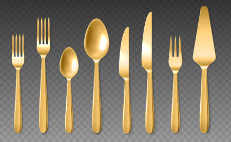 Realistic golden cutlery. Luxury shiny spoons, knives and forks, yellow metal 3d clean closeup dinner tools collection, top view stainless steel tableware vector isolated on transparent background set Vettoriali