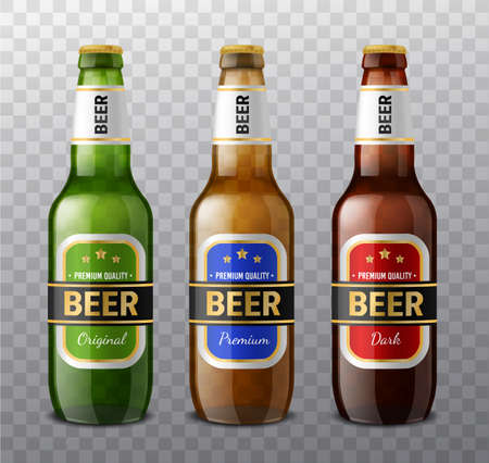 Realistic different colors beer bottles. 3d glass drinks containers for light and dark beer, alcohol green and brown bottle designs, label templates, products promotion mockup vector isolated set