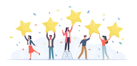 Tiny people with stars. Happy customers rate app, site or service. Small women and men give feedback online, clients product review, satisfaction rating social media survey vector flat cartoon concept Vettoriali