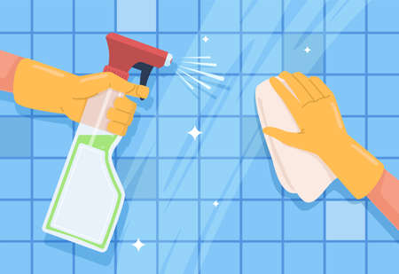 Cleaning surface. Spraying sanitizing spray and napkin in hand, bottle with antiseptic, sanitize home, prevention virus, professional housekeeping in kitchen and bathroom vector flat cartoon concept Vettoriali