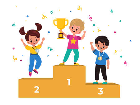 Kids winners. Winning podium with junior athletes, children with medals and gold cup, champions ranking first second and third place victory trophies gold silver and bronze vector cartoon flat concept