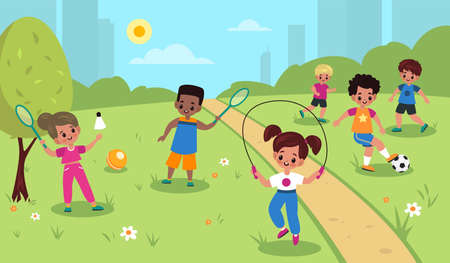 Children outdoor sport. Kids summer outdoor physical activities, cute girls and boys park games, football, badminton and skipping rope. Little friends play together vector cartoon childhood concept