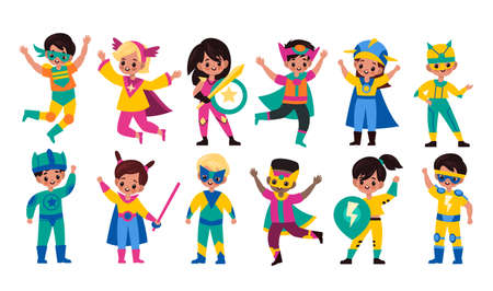 Kids superheroes. Children in superhero comics costumes, cute brave girls and strong boys in colorful bright capes and masks collection, different powers owners. Vector flat cartoon characters set Vettoriali