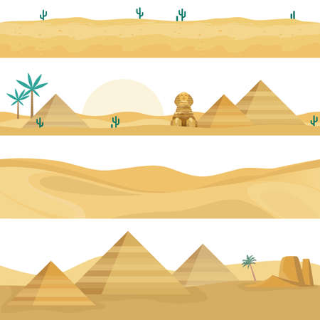 Desert landscape seamless borders. Sand dunes panorama collection, Egyptian landmarks elements, pyramids, palm trees and Sphinx against hot sahara sunset. Vector endless horizontal backgrounds set