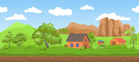Parallax landscape. Seamless background, green summer field and meadow, trees and mountains, blue sky and clouds. Cute village houses, countryside scene, bright cartoon endless horizontal illustration Vettoriali