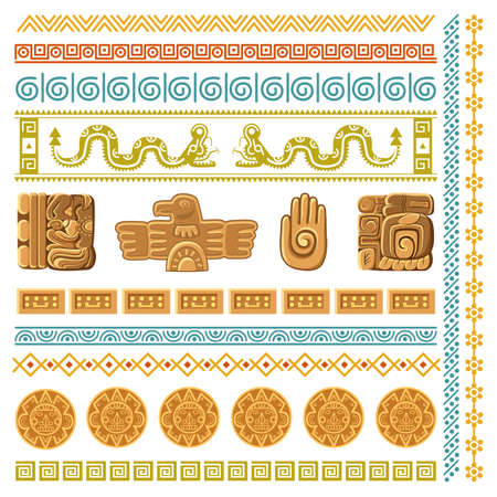Maya civilization graphics patterns. Aztec decoration elements frames and borders, inca ancient art symbols and architecture fragments mexico traditional religion ornaments vector cartoon isolated set