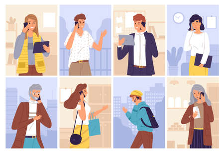 People talking phones. Women and men call with smartphones and type messages with gadgets collection, communication and conversation business, chatting and speaking characters, cartoon vector scenes Vettoriali