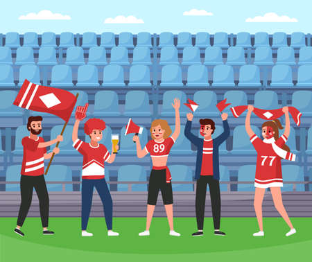 Sport supporters. Soccer team happy fans group with rooter equipment and flags, stadium victory celebration, screaming and smiling people in team colors, seats background. Vector flat cartoon concept Vettoriali