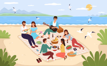 Sea picnic. Young happy people drink and eat on sandy beach, friends relax at ocean shore and have lunch together, men and women lie and sit on blanket outdoor. Vector colorful flat cartoon concept