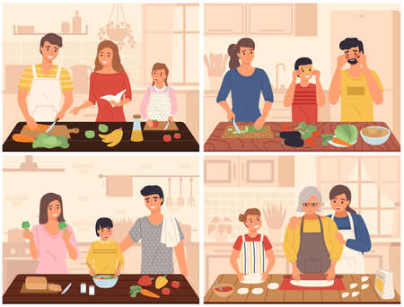 Family cooking. Mother, father and children in kitchen interior, food preparation, happy people cook meals together, joint breakfast making. Every day or holiday festive dinner vector scenes set