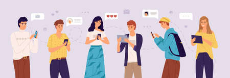 People chatting online. Young women and men exchange messages on smartphones and tablets. Friends social media communication, conversation sending messages vector flat cartoon horizontal concept