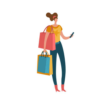 Shopping woman. Beautiful fashion buyer with shopping bags and smartphone, female shopaholic customer buying gifts and presents in mall modern isolated on white illustration. Vector purchase concept