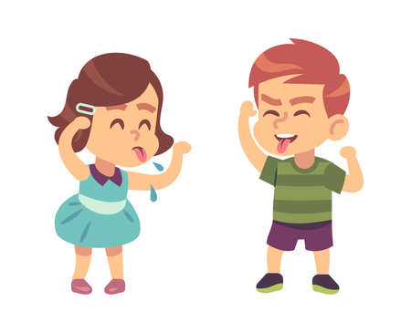 Boy and girl teasing each other. Naughty preschooler show tongue, happy children funny games, bad manners kids conflict on playground or kindergarten vector illustration isolated on white background