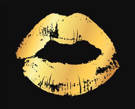 Gold lips. Golden metallic glamour lipstick kiss silhouette, female fashion shine lip shape, beauty and cosmetics design element vector single texture illustration isolated on black background Vetores