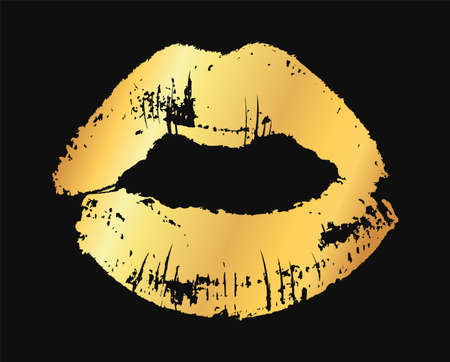 Gold lips. Golden metallic glamour lipstick kiss silhouette, female sexy fashion shine lip shape, beauty and cosmetics design element vector single texture illustration isolated on black background