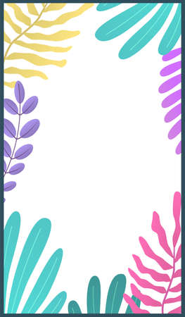 Botanic minimal template for stories. Bright colorful tropical palm leaves with copy space, summer exotic botanical frame for social media posts, trendy design poster vector vertical background