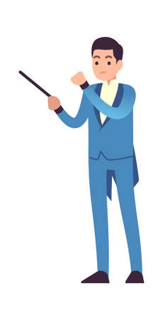 Conductor of symphony orchestra. Classic male musician character in blue dress with conductor stick, musical performance at philharmonic, opera or theater flat vector cartoon isolated illustration