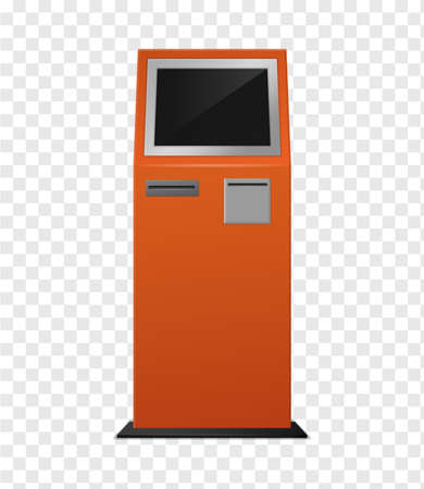 Payment terminal. Realistic Atm orange colored kiosk front view, automated teller for finance service, banking electronic financial equipment, black empty screen mockup 3d vector isolated illustration Ilustrace