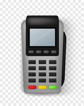 Realistic payment terminal. Contactless Pos terminal front view, finance service and banking electronic financial equipment, credit card payments, empty screen mockup 3d vector isolated illustration