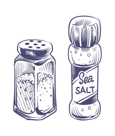 Salt shaker. Glass bottles salting powder and crystals hand drawn sketch illustration, saltshaker with himalayan or sea salt, kitchen utensils vector isolated on white background cooking ingredient