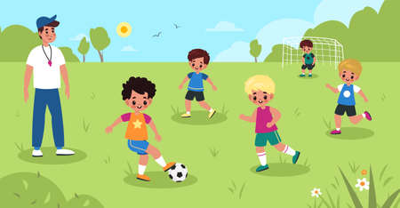 Children soccer. Kids play football in summer park, boys sport team workout with male coach, goalkeeper on gate, young athletes activity. Little friends play together vector cartoon childhood concept