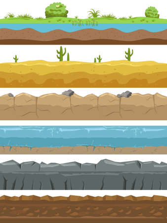 Seamless landscape borders. Ground types endless background, game environments. Natural horizontal lands stripes structure collection, rocks and meadow, desert and water.