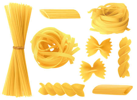 Italian pasta types. Realistic 3d dry spaghetti, penne, and homemade tagliatelle, organic farfalle and wheat fusilli. Culinary products collection, cooking ingredient vector isolated on white food set