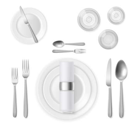 Table setting top view. Realistic 3d silver cutlery and white plates, restaurant banquet service, silverware positions, full dinner serving. Vector realistic isolated on white background illustration